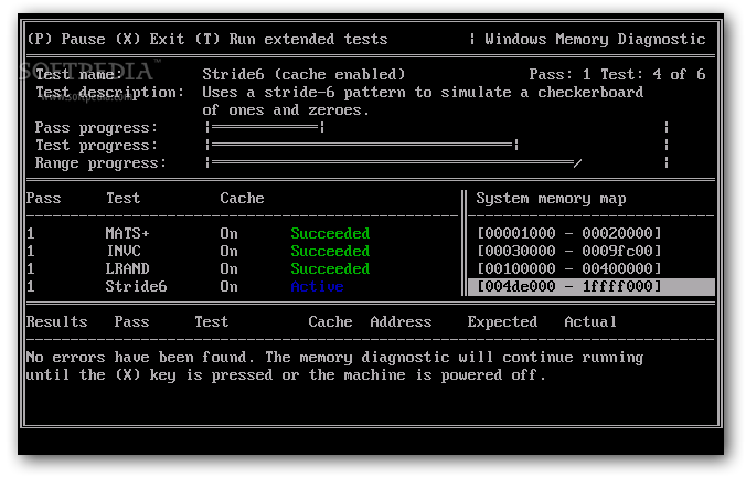 Microsoft Windows Memory Diagnostic screenshot 2 - The standard test set comprises six tests while the extended version consists of eleven