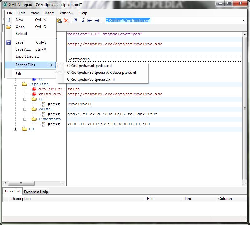 Xml editor.