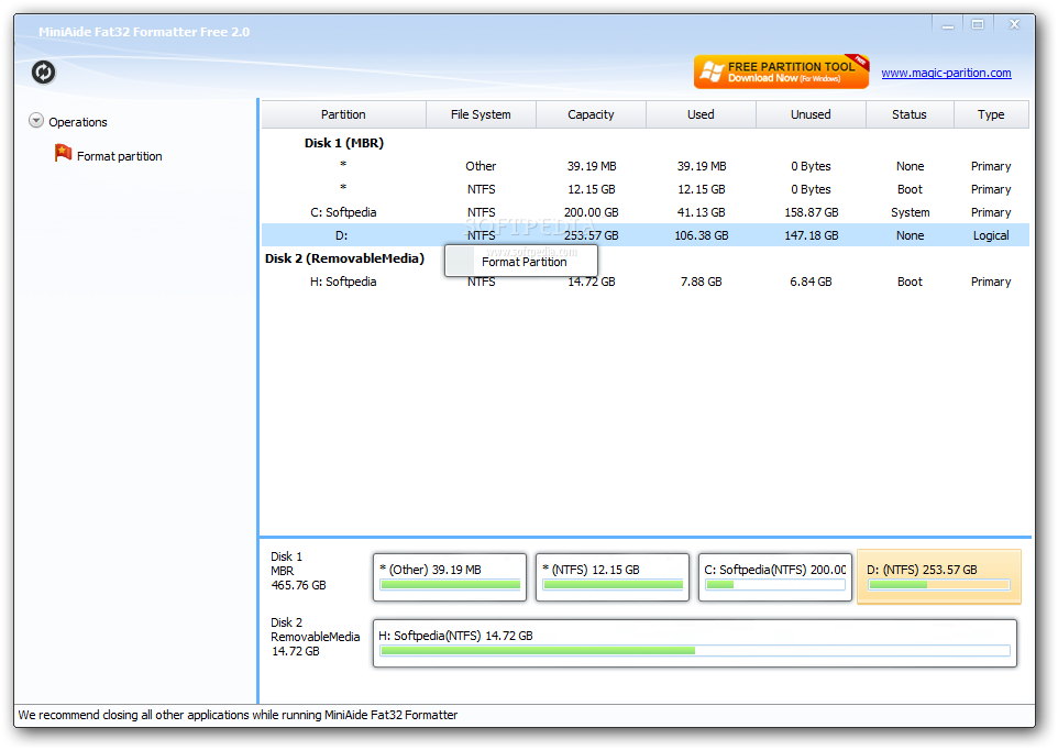 MiniAide Fat32 Formatter screenshot 1 - MiniAide Fat32 Formatter will help you quickly and easily format volumes to FAT32 or NTFS