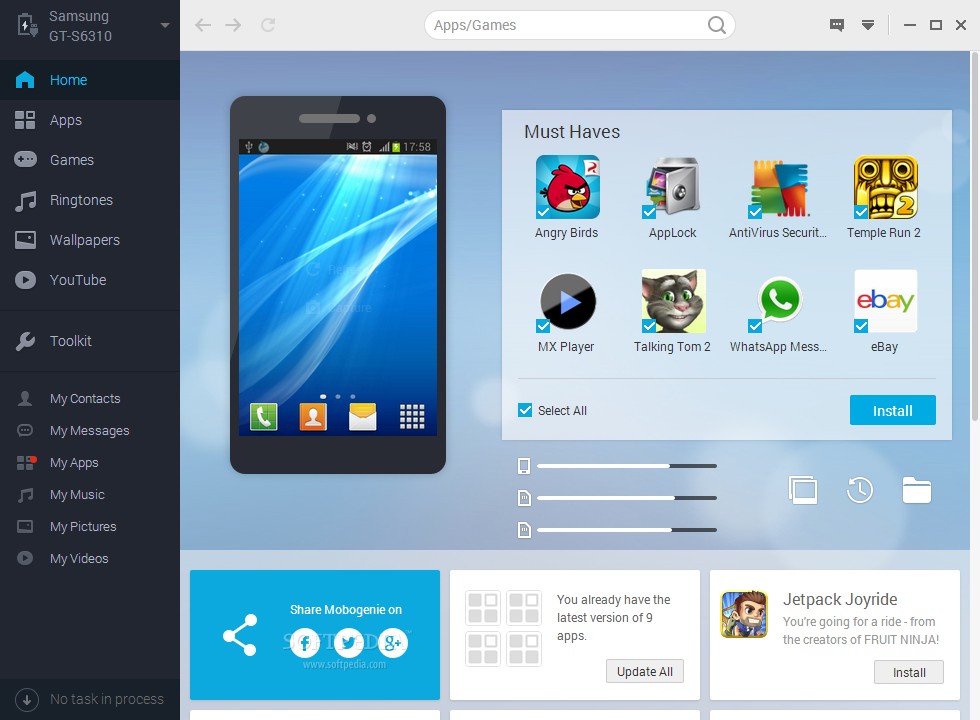 Mobogenie screenshot 1 - The main window of Mobogenie enables users to connect their Android device.