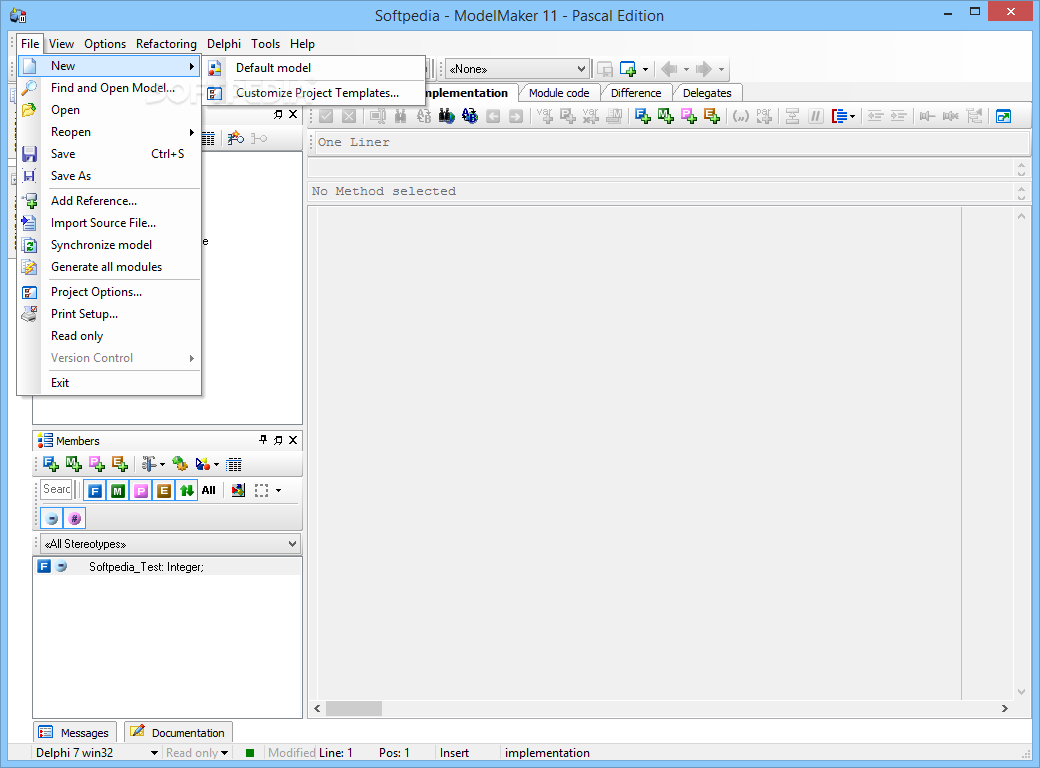 10. ModelMaker Pascal Edition - The main window of the application allows y