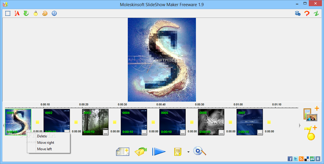 Moleskinsoft SlideShow Maker screenshot 1 - This is the main window of Moleskinsoft SlideShow Maker, where you will be able to add the images of interest.