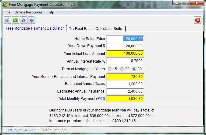 Down Payment Calculator >> Download Free Mortgage Payment Calculator 4 5 1