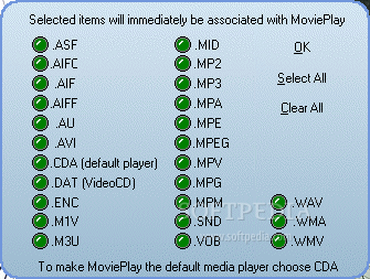 MoviePlay screenshot 2 - The File Associations window will provide users with associated file types management ability