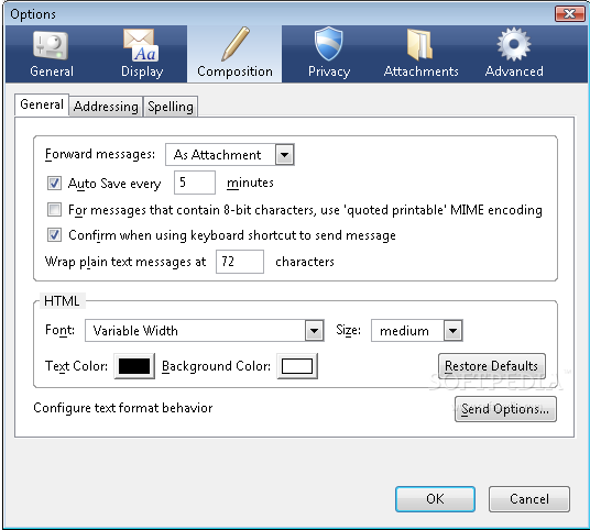 Mozilla Thunderbird Nlite Addon The Options Window Will Help You