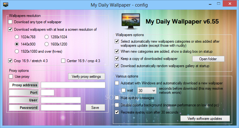 My Daily Wallpaper screenshot 2 - You can access the Configuration window when you want to set the software to keep a copy of the downloaded wallpaper