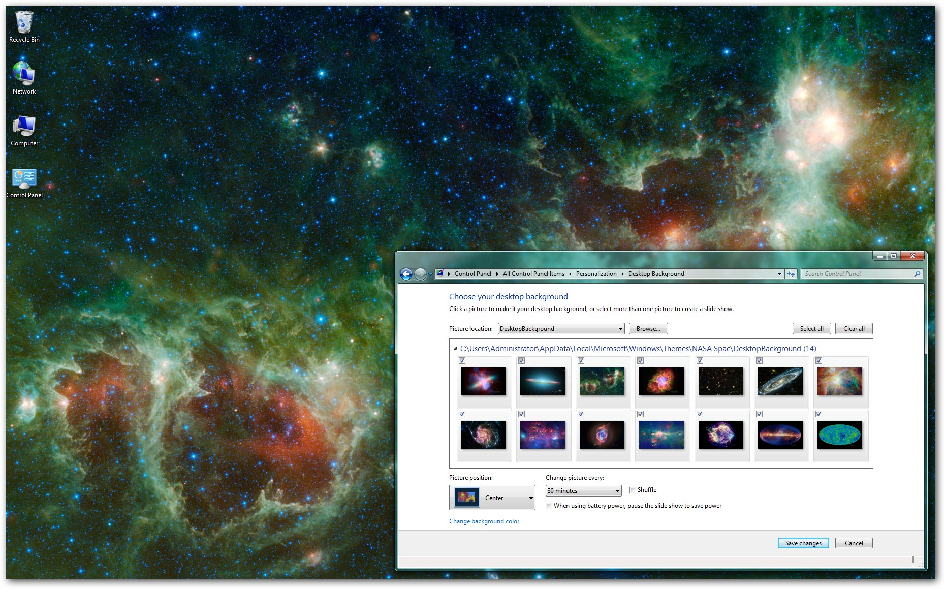 nasa spacescapes windows 7 theme 1