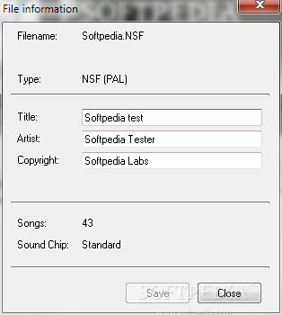 NSF Tool screenshot 2 - From this tab of NSF Tool you'll be able to view and edit the NSF file information.