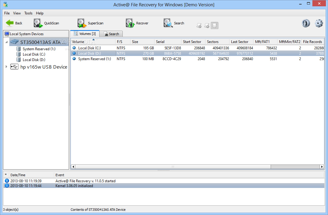 Active file recovery for windows 7.3 build 123