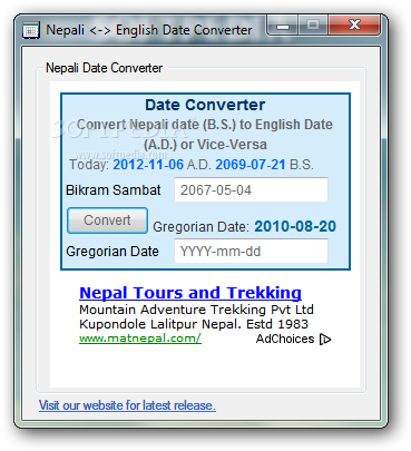 Nepali Date Converter The Main Window Of Can Be Used To Convert