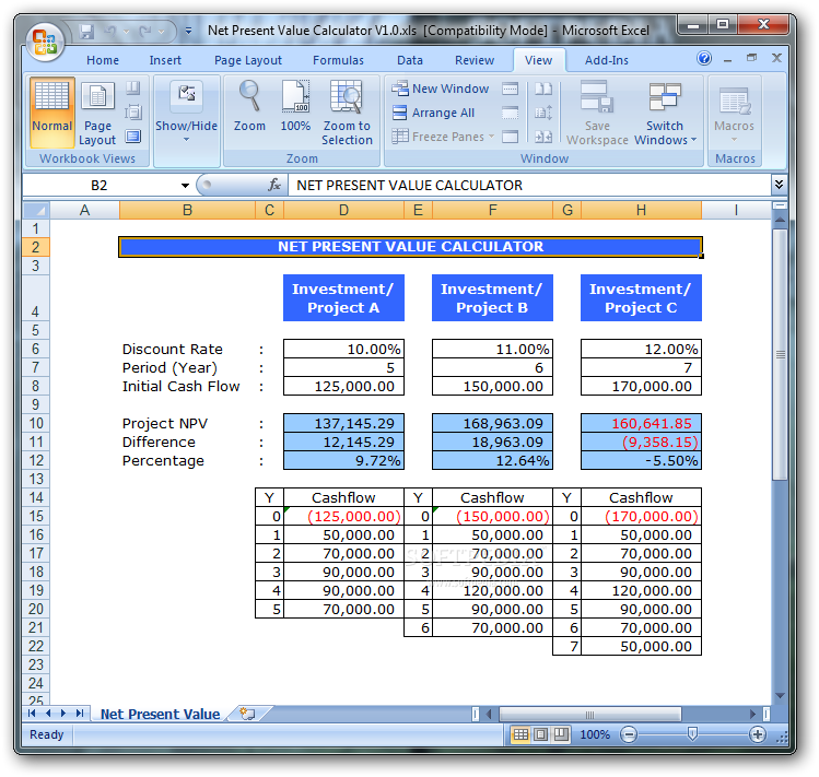 Download Net Present Value Calculator 10