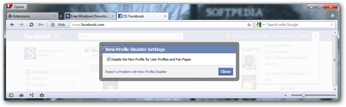 New Profile Disabler for Opera screenshot 2 - You will be able to enable or disable the new profile for your Facebook page.