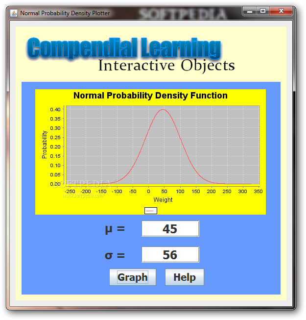 Normal probability density function - you can use the main window of