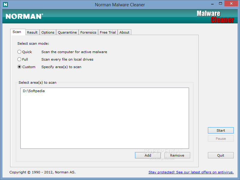 Norman Malware Cleaner screenshot 1 - This is the main window of Norman Malware Cleaner, where you will be able to choose the scan mode.