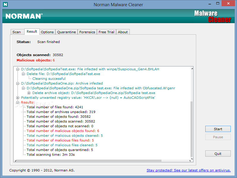 Norman Malware Cleaner screenshot 2 - In this window of Norman Malware Cleaner, you will be able to view the scan results.