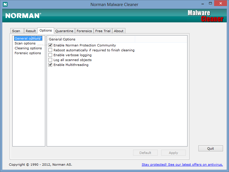 Norman Malware Cleaner screenshot 3 - You can configure the Options of Norman Malware Cleaner using this window.