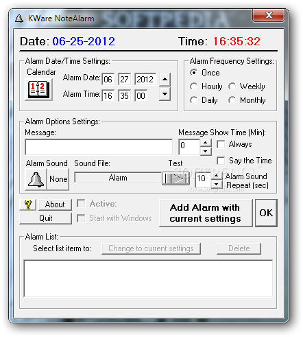 NoteTime screenshot 2 - You can use the program to set an alarm and to add a text reminder or a sound.