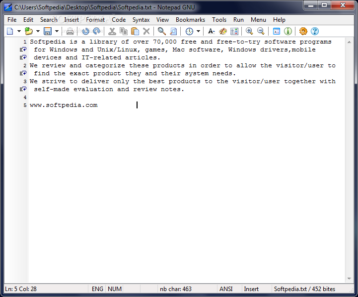 notepad a free gnu source code editor download