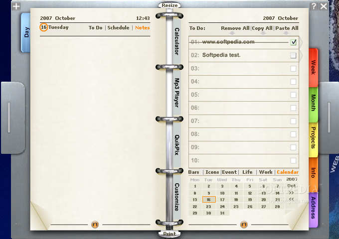 Noto Personal Organizer screenshot 2 - When you select the Day tab, you...