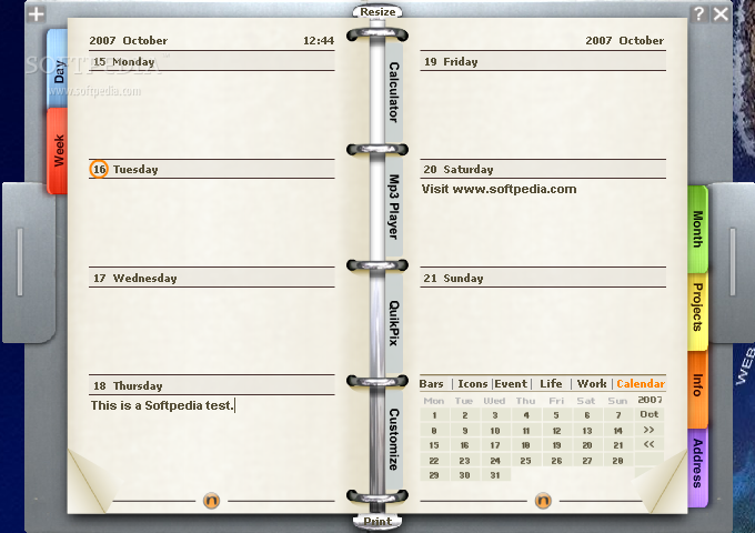Noto Personal Organizer screenshot 3 - The Week tab enables you to...
