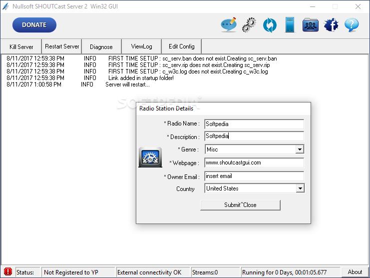 Download Nullsoft SHOUTcast Server GUI 2 0 64