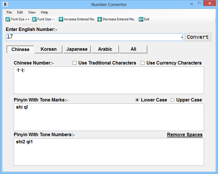 Number Convertor screenshot 1 - Using the main window of Number Convertor, you can enter the English number you want to convert.