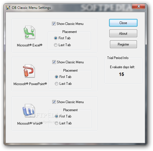 OB Classic Menu screenshot 3 - Users will be able to access option such as Show Classic Menu as well as set the placement for Excel, PowerPoint and Word