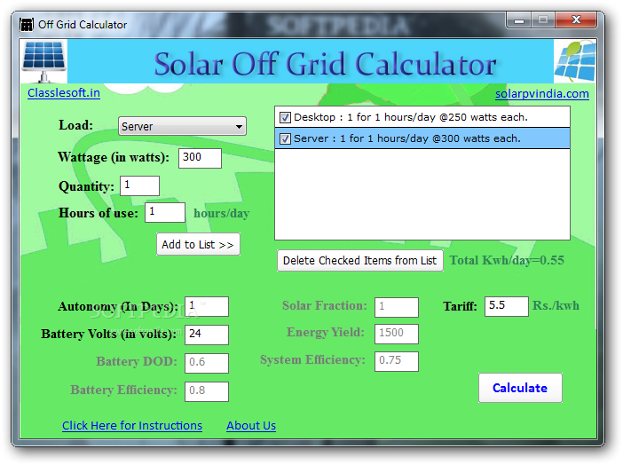 Download Off Grid Calculator 8 1 0 0