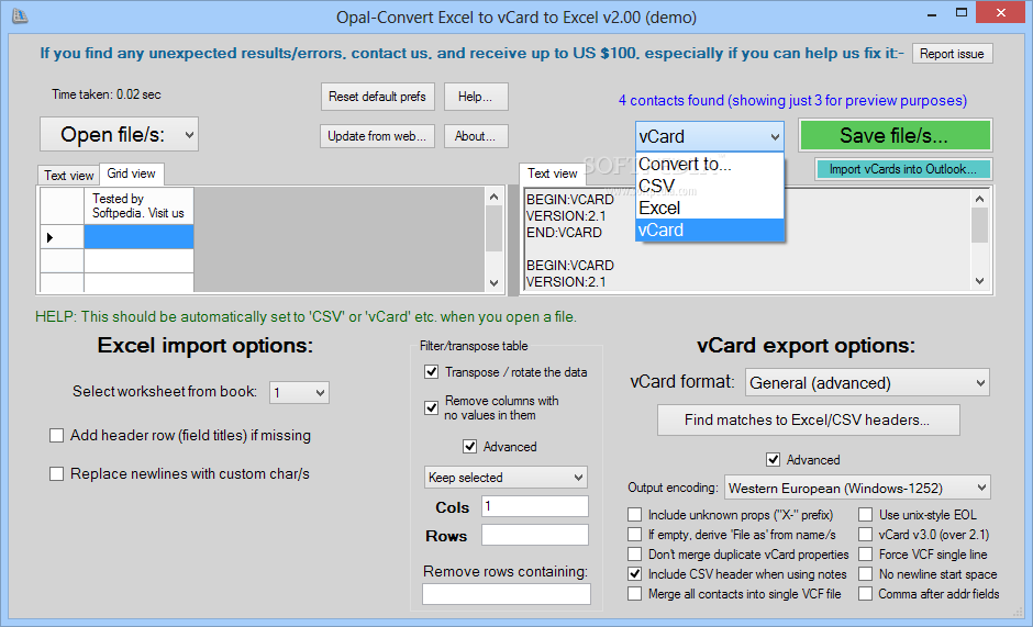 Download Opal-Convert Excel to vCard to Excel 2 55