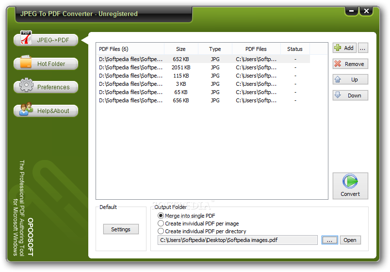 OpooSoft JPEG To PDF Converter screenshot 1 - This is the main window of OpooSoft JPEG To PDF Converter that allows you to access all the features of the application