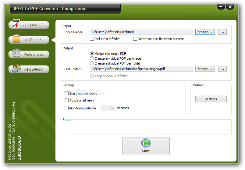 OpooSoft JPEG To PDF Converter screenshot 2 - By accessing the Hot Folder window, the user is able to select an input and an output folder as well as set the application to launch at startup