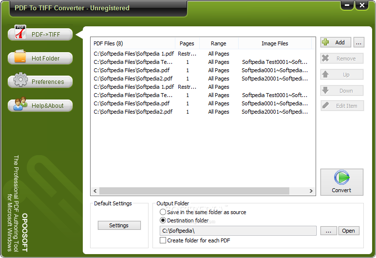 OpooSoft PDF To TIFF Converter screenshot 1 - The main window allows the user to choose multiple PDF files and to customize the output folder.