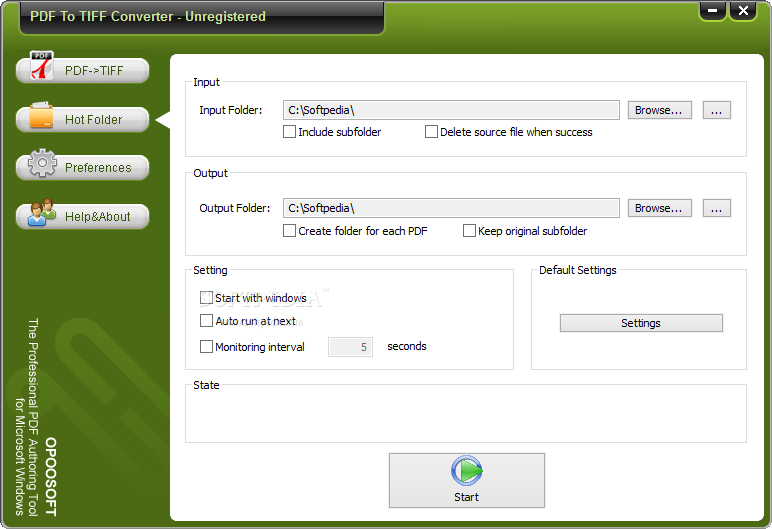 "OpooSoft PDF To TIFF Converter screenshot 2 - The user can choose a ""Hot Directory"" that will be monitored periodically for PDF files to convert."