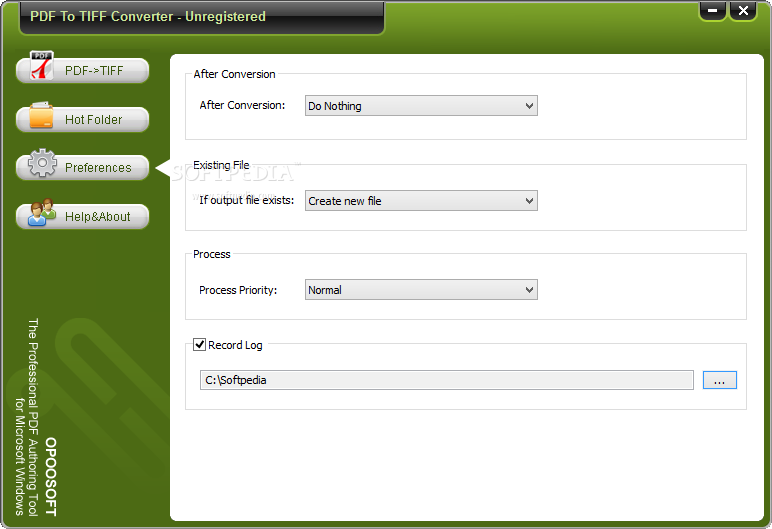 OpooSoft PDF To TIFF Converter screenshot 3 - The application can be set to put the computer on standby, hibernate or to shut down the computer after it finishes the tasks.