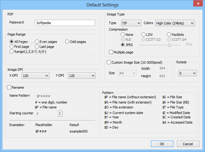 OpooSoft PDF To TIFF Converter screenshot 4 - The user can specify the password for protected PDF files and customize the output's resolution, size or name.