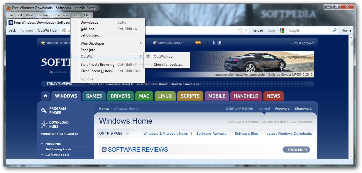 Download OutWit Hub Light for Firefox 4 1 1 23