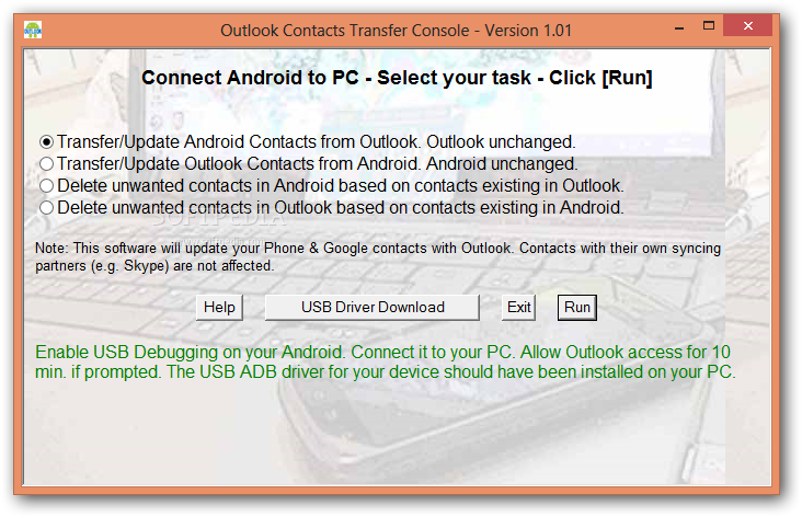 how to take contacts from outlook