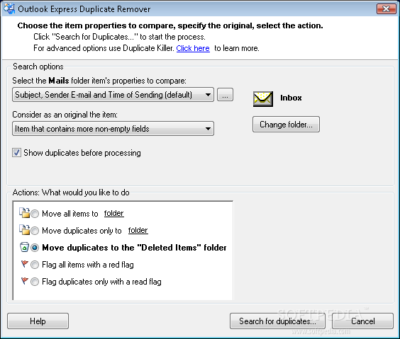 Duplicates remover for outlook key generator