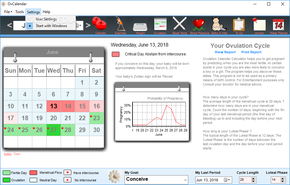 Weekly Calendar Calculator : Babymed pregnancy week by ovulation calculator