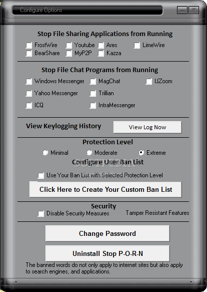 STOP P-O-R-N screenshot 2 - The Configure Options window will provide users with Stop Applications from Running, Configure Ban List, Security or Change Password