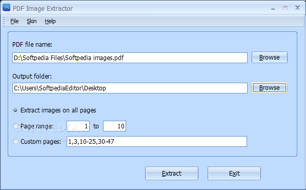 PDF Image Extractor screenshot 1 - PDF Image Extractor allows you to add the file you want to work with and extract the images to the output location you prefer