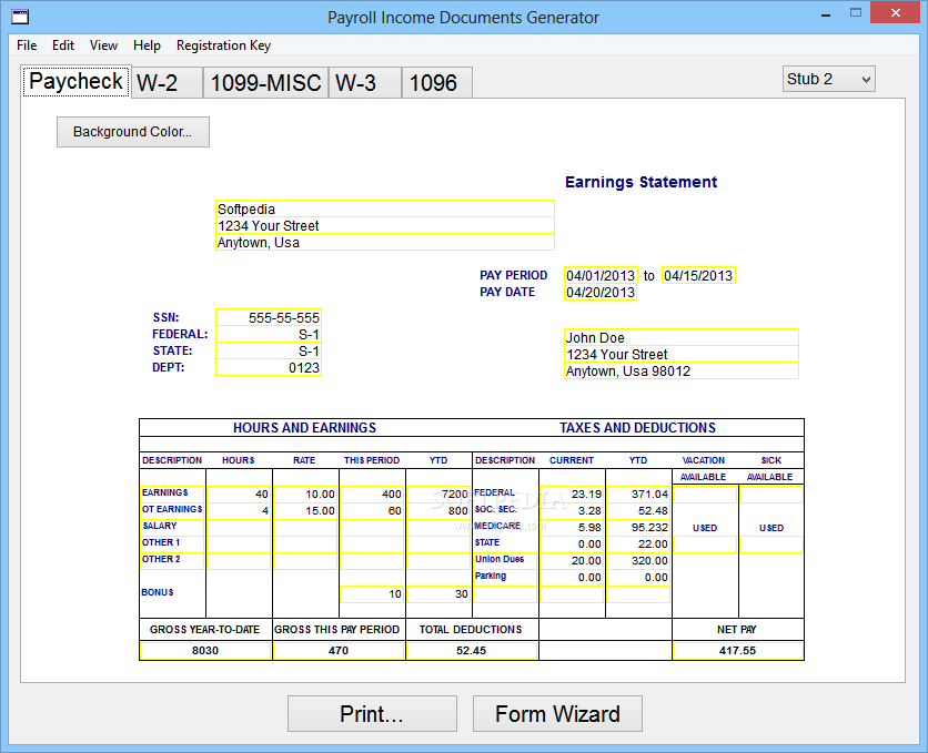 download payroll income documents generator 4100