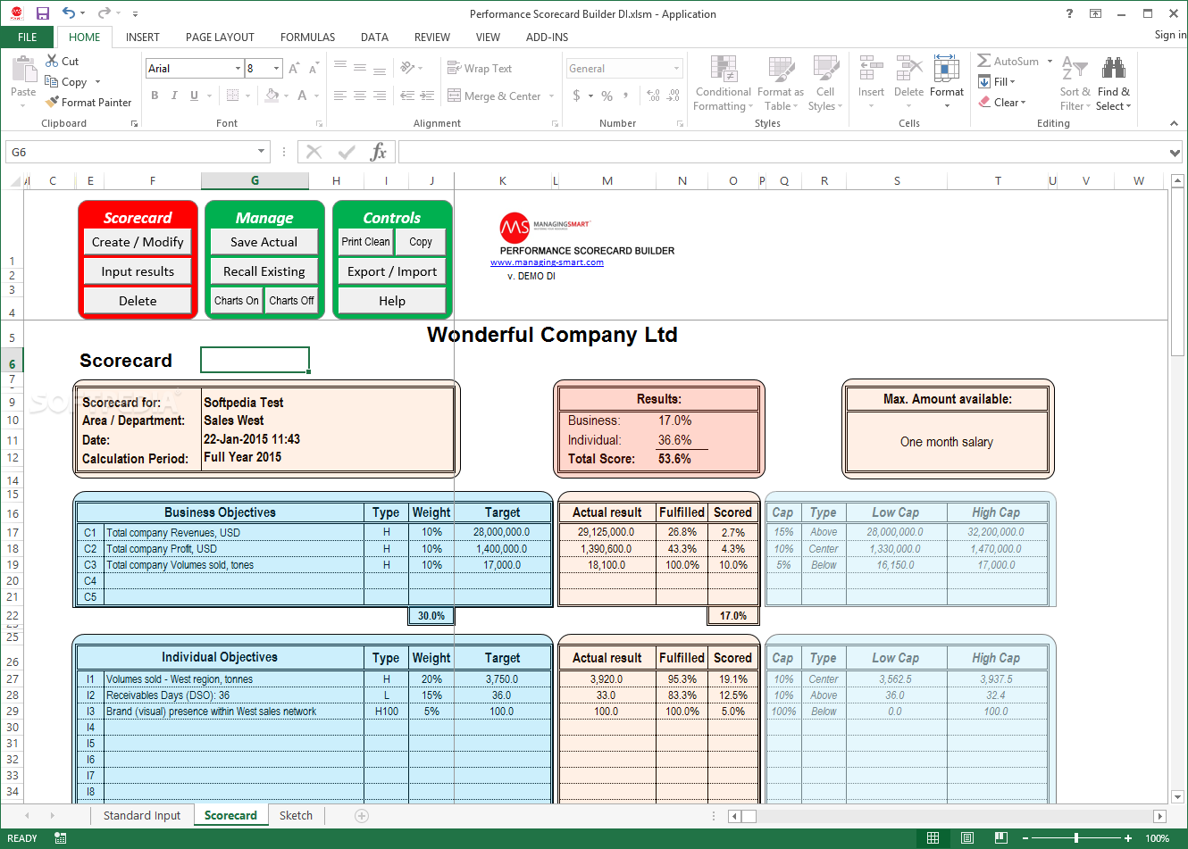 Performance Scorecard Builder Is A Microsoft Excel Tool That Allows You To