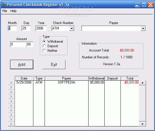 download personal checkbook register 1 3a