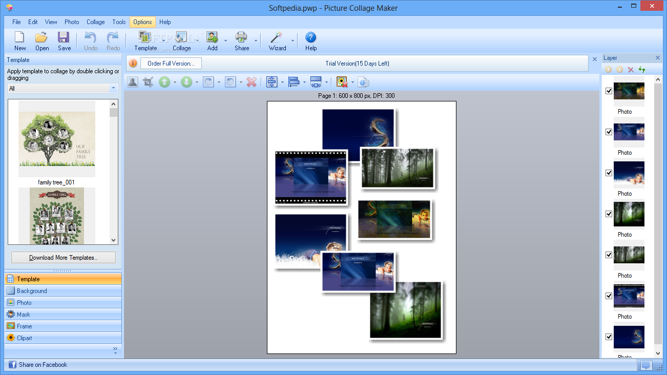 Picture Collage Maker - The main window of Picture Collage Maker allows users to create their ...