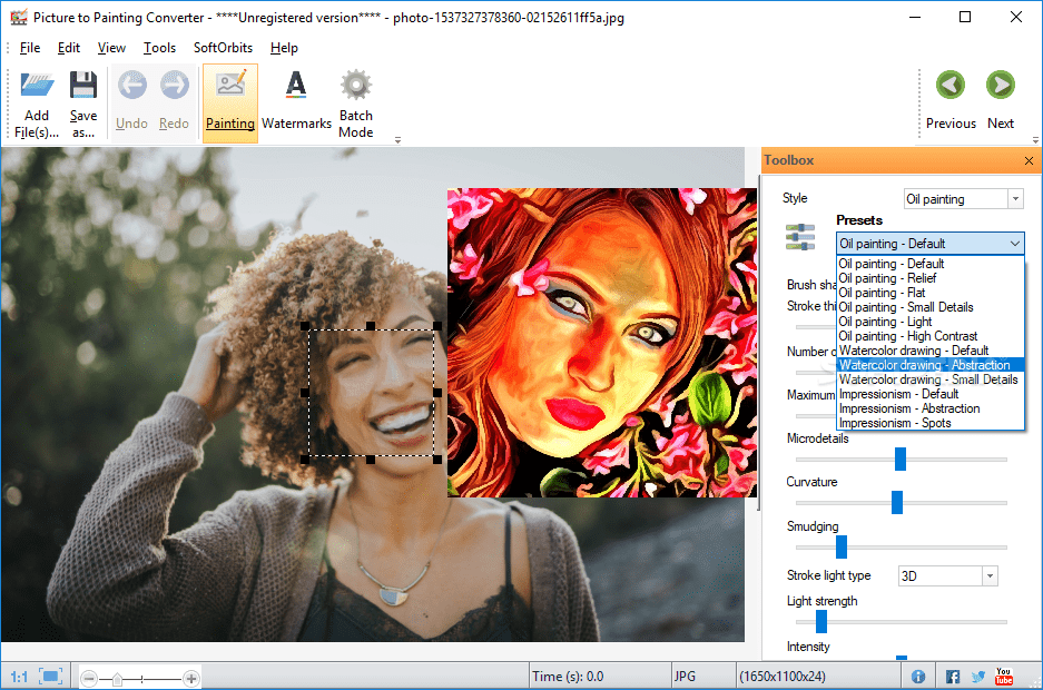 Create online painting photo effect → convertimage.