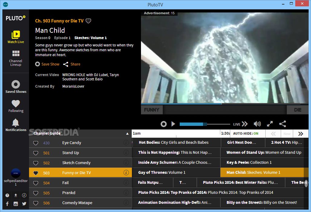 WatFile.com Download Free PlutoTV - The main window of PlutoTV allows you to choose the channel