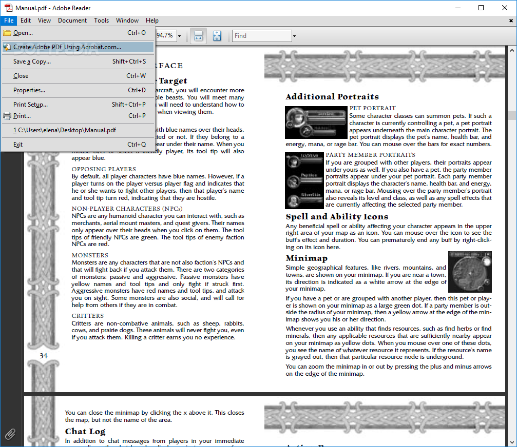 ... Portable Adobe Reader Lite - Create PDF documents using an online  service, print the current ...