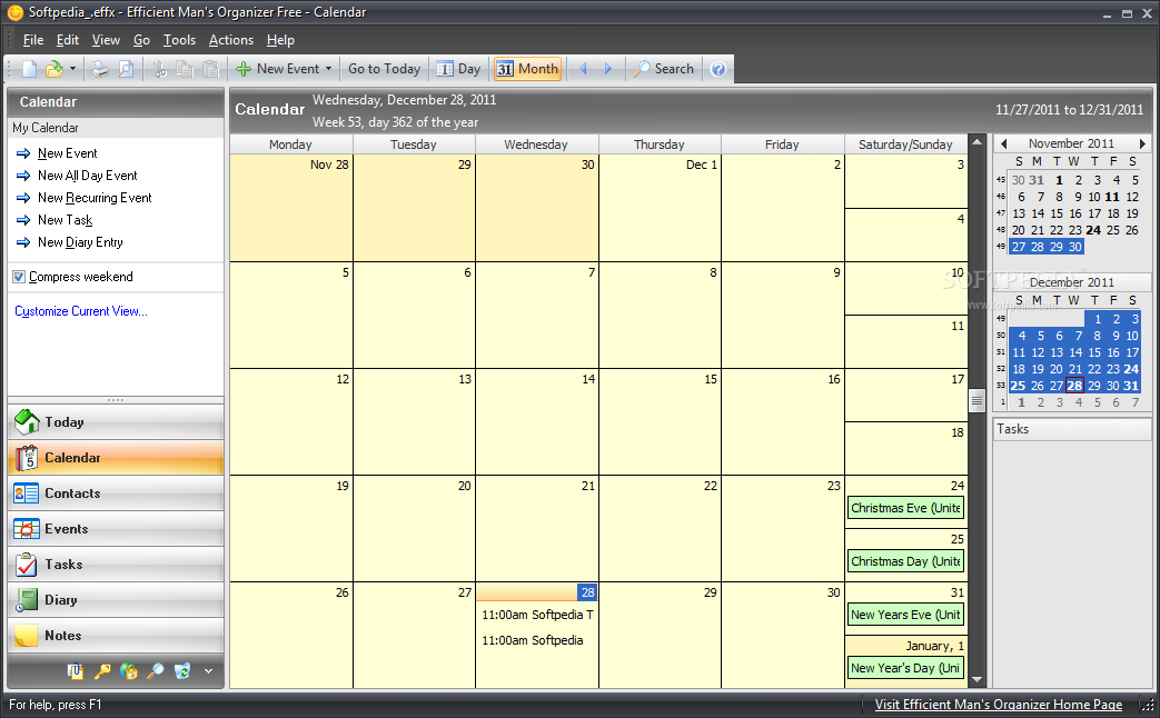 Office Calendar Download : Portable efficient man s organizer free download