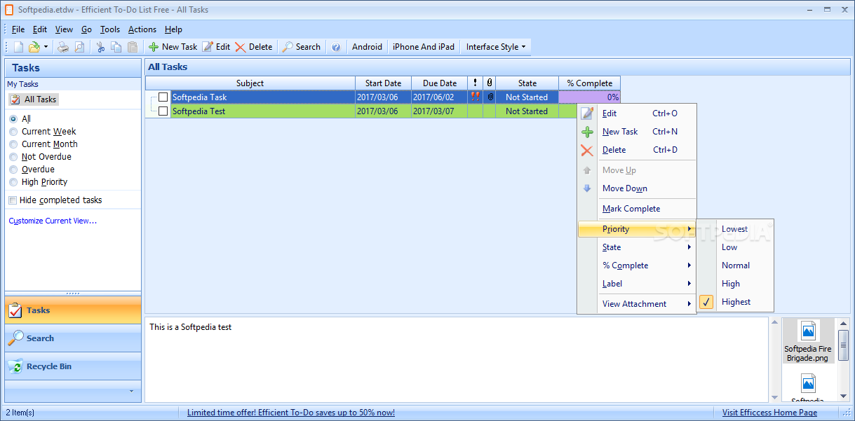 Download Portable Efficient To-Do List Free 5.60 Build 547